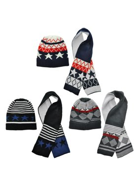 Swan Kids Winter-Weight Knit Beanie and Scarf Set (3-Pack)