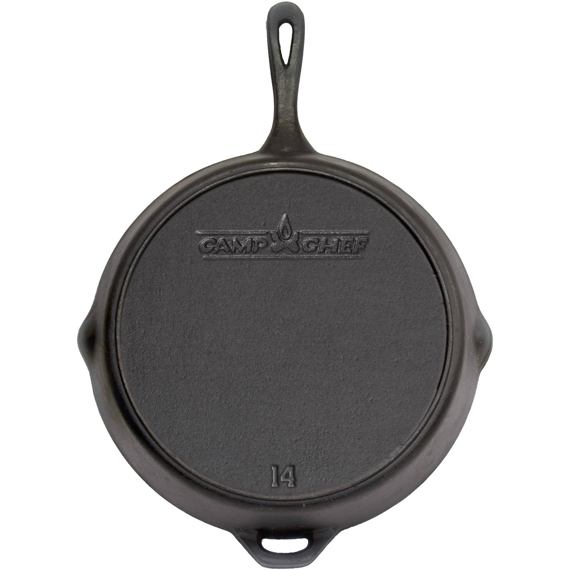 "Camp Chef Pre-Seasoned 14"" Cast Iron Skillet with End Grab Handle"