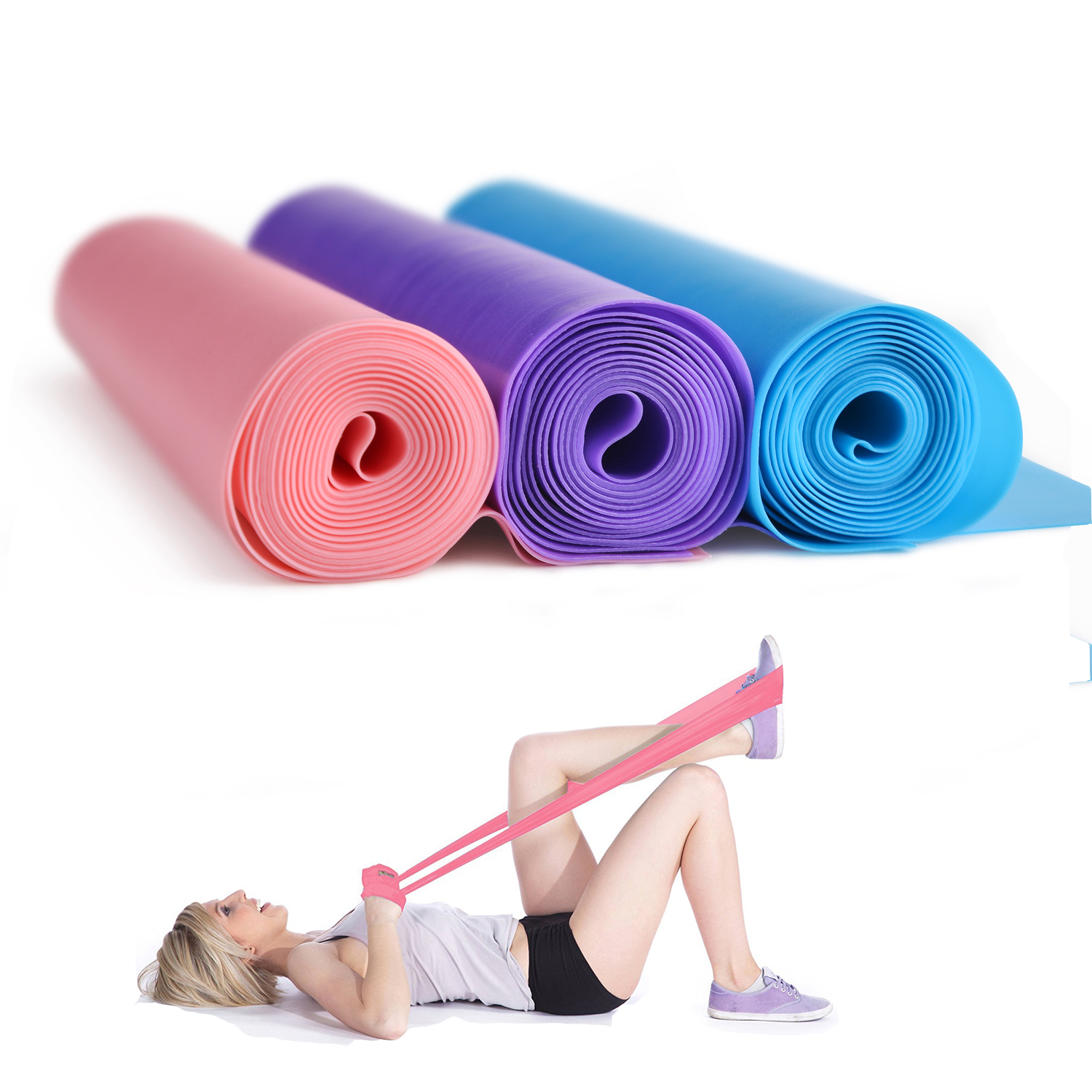 "Potable 59 "" Professional Latex Pilates Yoga Resistance Band for Upper Lower Body Core Exercise Physical Therapy Purple"