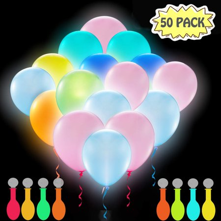 Glow In The Dark Water Balloons (Kratez LED Balloons Neon Party Supplies, 50 Pack LED Light Up Balloons, Glow in the Dark Party Supplies for Birthday Wedding Festival Christmas Decorations (Mixed)