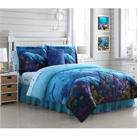 Ellison First Asia 20661803BB-MUL Dolphin Cove Bed in a Bag Comforter Set, Blue - Queen Size, 8 Piece ()