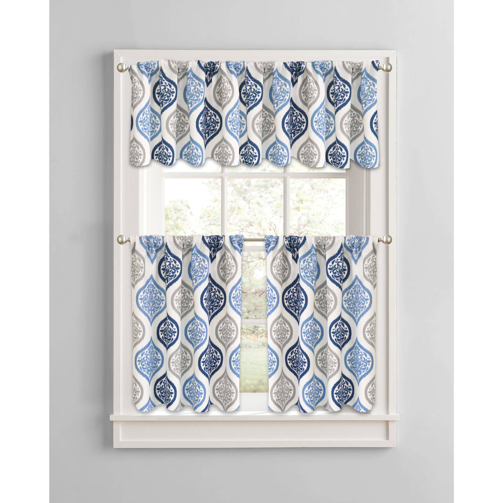 Better Homes And Gardens Damask Ogee Kitchen Curtains, Set Of 2