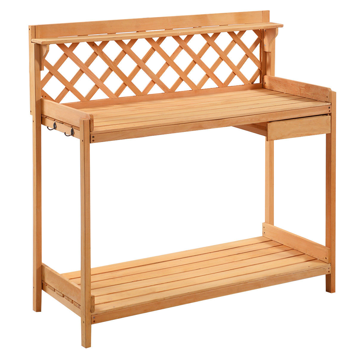 Gymax Potting Garden Work Bench Station Planting Solid Wood Construction