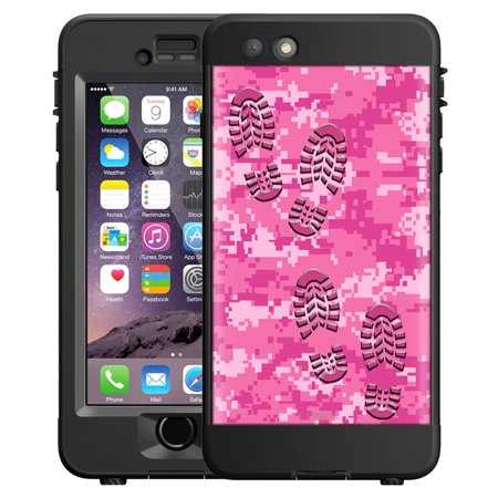 SKIN DECAL FOR LifeProof nuud Apple iPhone 6 Plus Case - Footprints on  Digital Pink Camouflage 8a302b798d