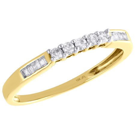10K Yellow Gold Round & Baguette Diamond Wedding Band 5 Stone Womens Ring 1/6 CT