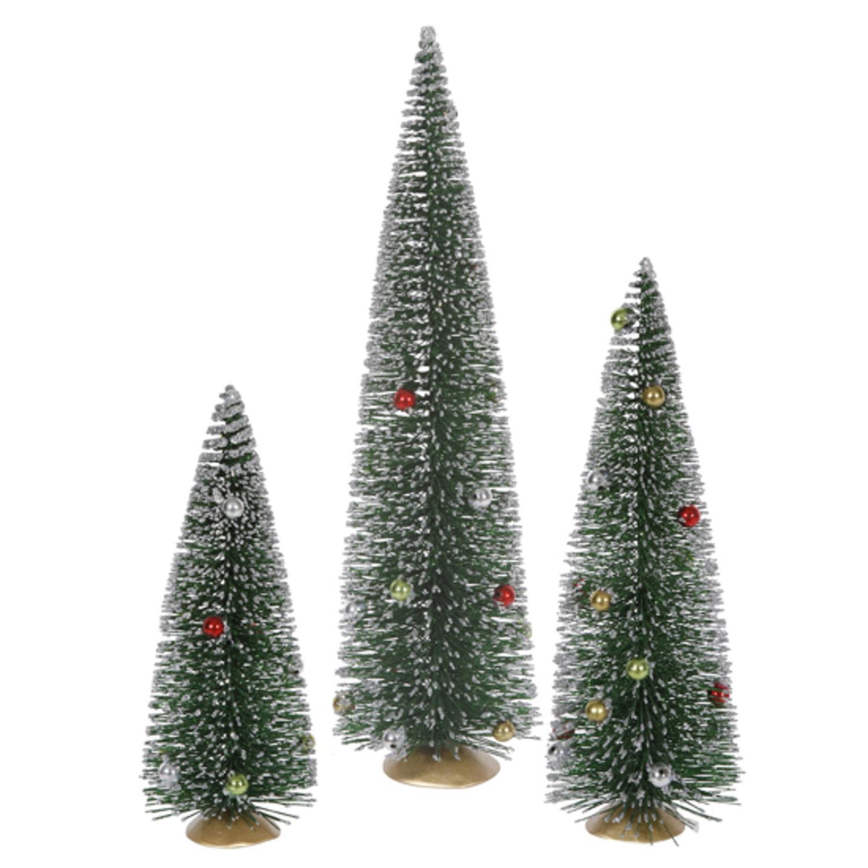 Set of 3 Whimsical Glittered Artificial Mini Village Christmas Trees - Unlit