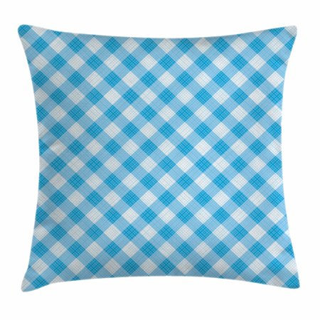 Fabulous Checkered Throw Pillow Cushion Cover Blue And White Gingham Fabric Texture Image Country Style Plaid Crossed Stripes Decorative Square Accent Pillow Ibusinesslaw Wood Chair Design Ideas Ibusinesslaworg