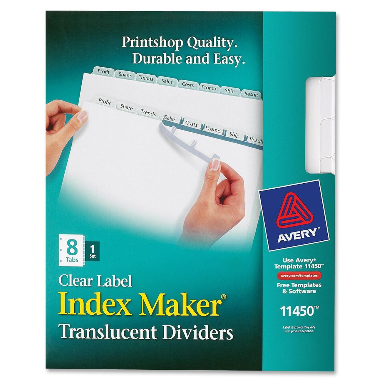 avery index maker print apply clear label plastic dividers 8 tab letter ave11450 walmartcom