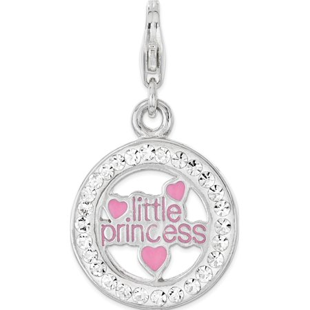Leslies Fine Jewelry Designer 925 Sterling Silver Enameled w/Crystal Little Princess Lobster Clasp Pendant Gift