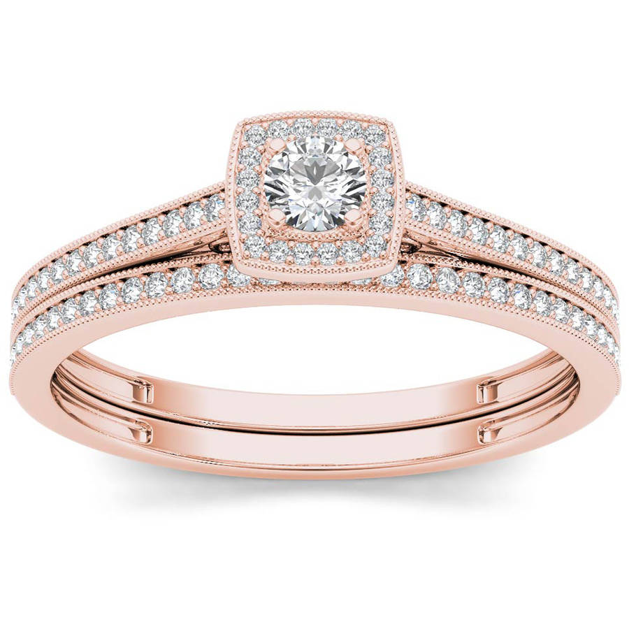 Imperial 1 3 Carat T.W. Diamond Single Halo 10kt Rose Gold Engagement Ring Set by Imperial Jewels