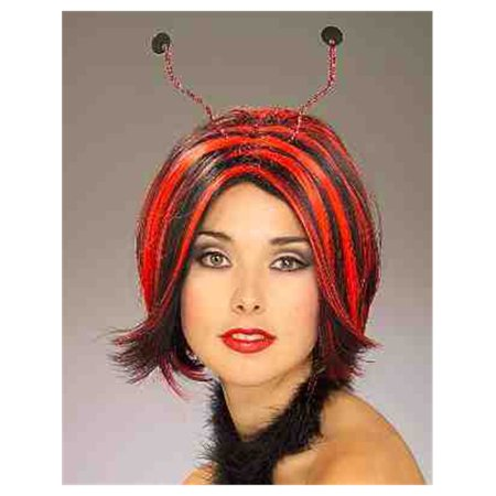 Adult Black and Red Lady Bug Costume Striped Wig With - Striped Ladybug