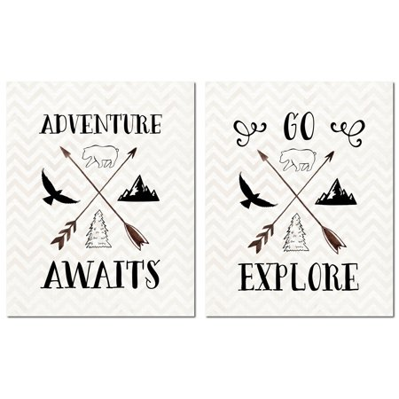 """Inspirational Woodland """"Adventure Awaits"""" and """"Go Explore""""Bear, Arrows, and Mountains On Chevron, Perfect for a Child"""
