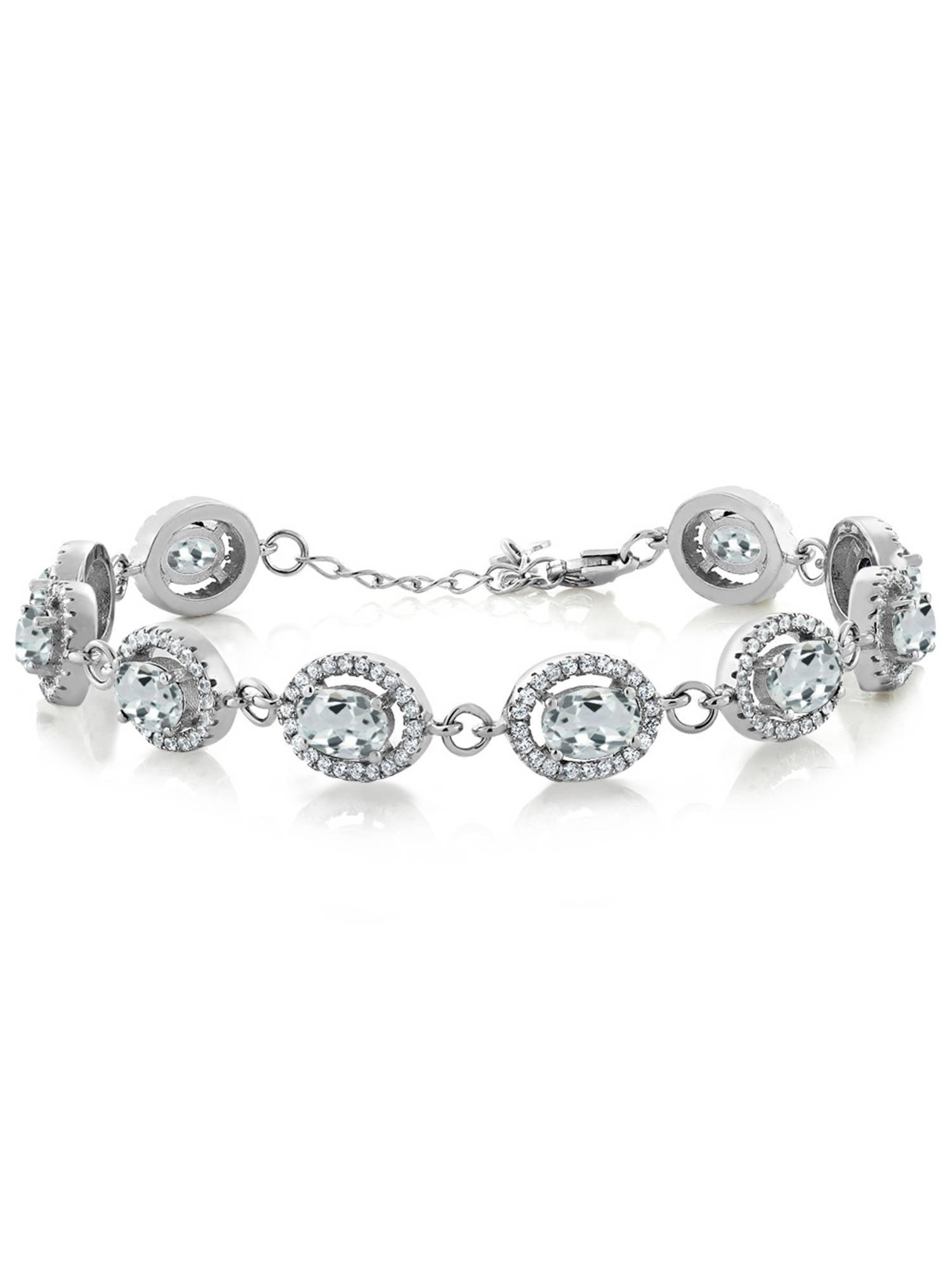 10.08 Ct Oval Sky Blue Aquamarine 925 Sterling Silver Bracelet by