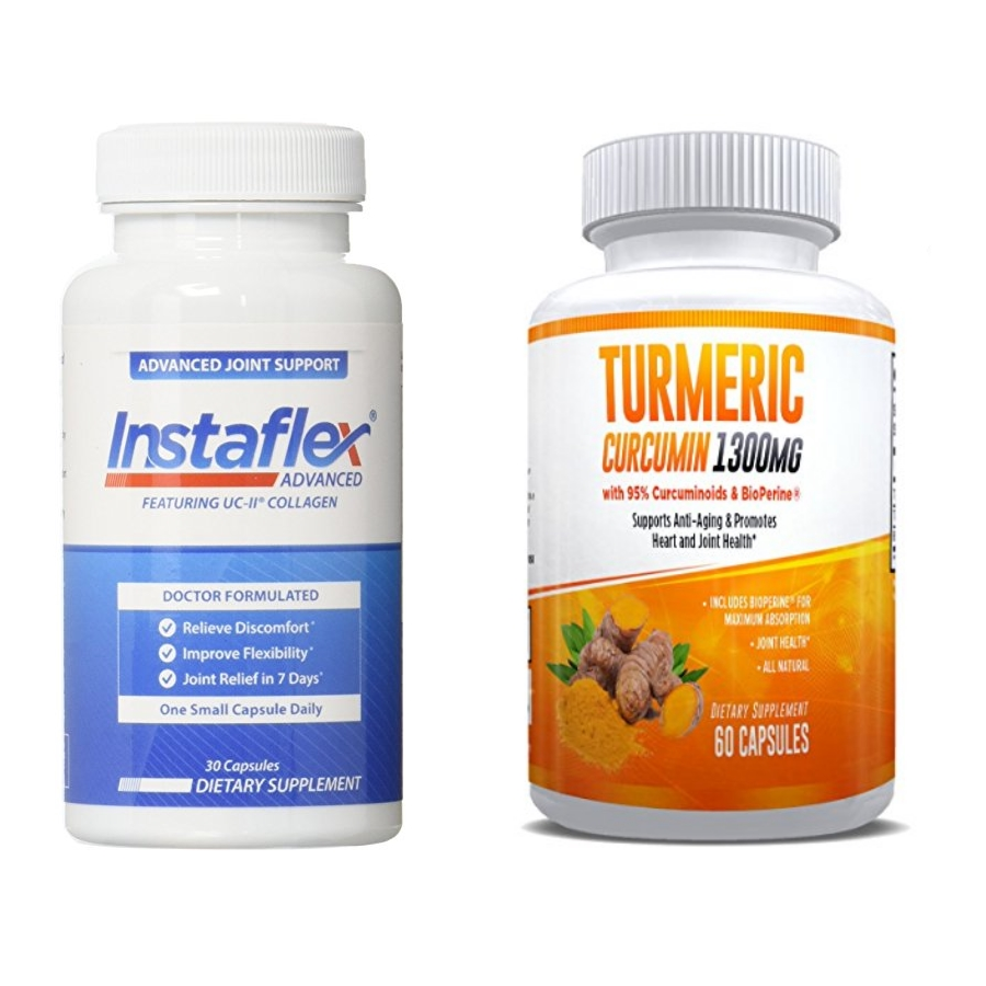 Instaflex Advanced and Turmeric Curcumin - Ultimate Joint Pain Relief Combination – 1 Month Supply