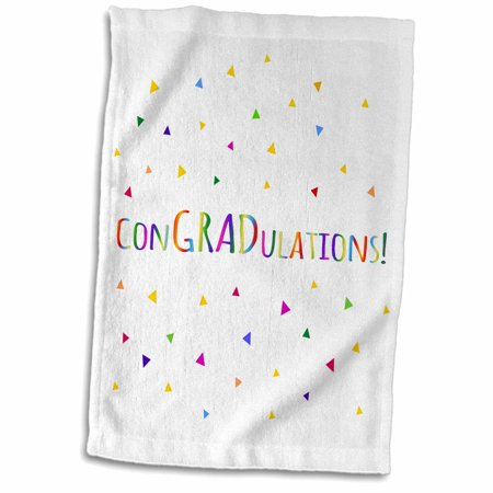 3dRose conGRADulations - fun graduation congrats - colorful rainbow confetti - Towel, 15 by 22-inch