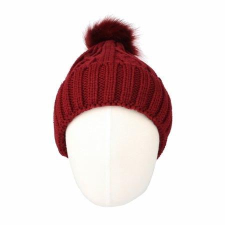 bd4713cf6 WITHMOONS Fleece Twist Knit Pom Beanie Winter Hat Slouchy Cap DZP0017 (Wine)