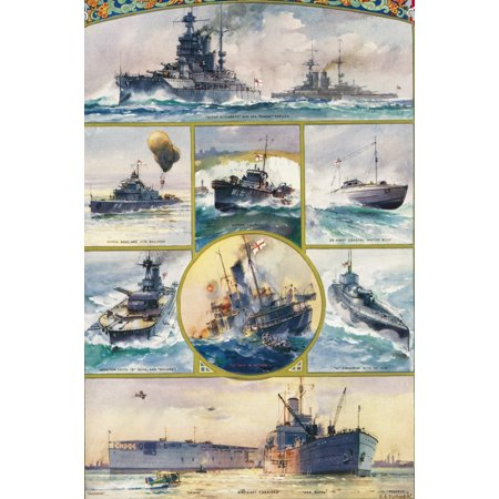 Types of British warships brought into being by the Great War  From top left to right  Queen Elizabeth and her dummy replica patrol boat and kite balloon motor launch 35 knot coastal motor boat Monito