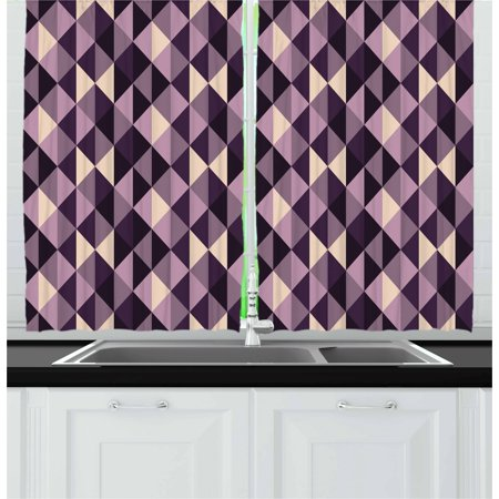 Ivory Plum (Geometric Curtains 2 Panels Set, Abstract Stylized Triangles with Dark and Pale Color Shades, Window Drapes for Living Room Bedroom, 55W X 39L Inches, Ivory Dark Purple Lilac Plum, by Ambesonne )