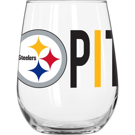 Pittsburgh Steelers Rocks Glass - NFL Pittsburgh Steelers 16 oz. Overtime Curved Beverage Glass