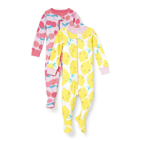 - Long Sleeve Snug-Fit Footed Stretchie Pajamas, 2pk (Baby Girls & Toddler Girls)