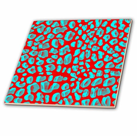 3dRose Aqua and Red Leopard Print - Animal Prints - Fun Art - Ceramic Tile, 4-inch