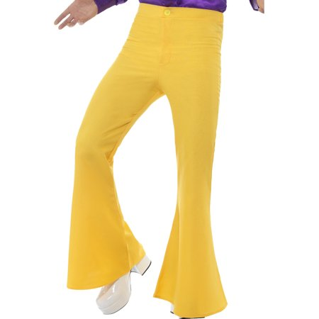 Mens 70s Groovy Disco Fever Flared Yellow Pants Costume