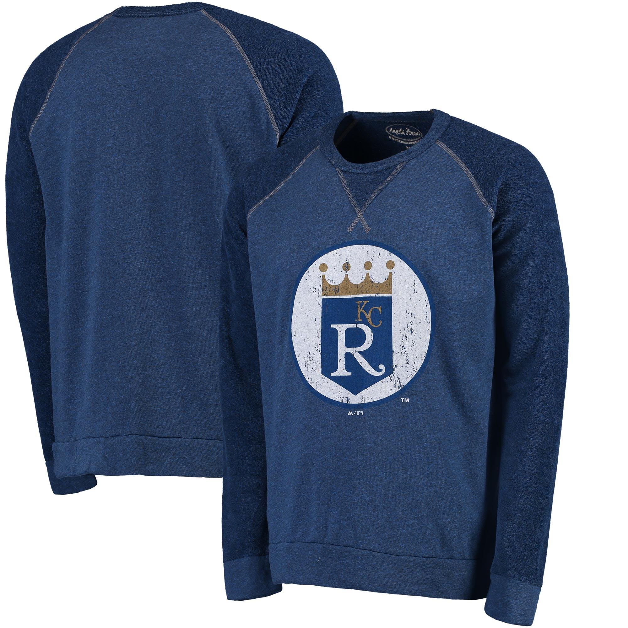 Kansas City Royals Majestic Threads Vintage Terry Crew Raglan Sweatshirt - Royal