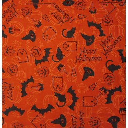 MTL® Happy Halloween Bats Pumpkins Black Cats Bandana USA Made - Happy Halloween Black Cat