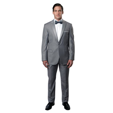 Mens Tuxedo Slim Fit 3 Piece Solid Tuxedo Suits with Satin Lapel Collar MT187S-04