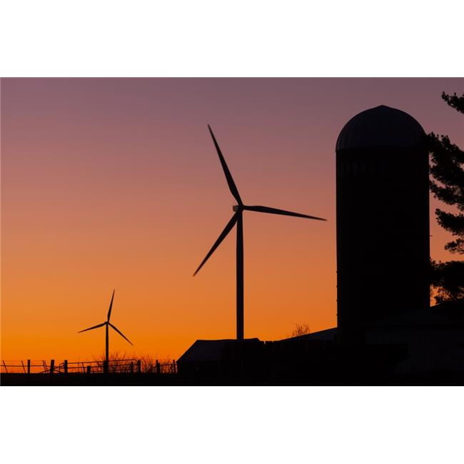 Posterazzi DPI12274675 Elk Wind Energy Farm & A Silo at Sunrise Near Edgewood - Iowa United States of America Poster Print - 19 x 12 in. - image 1 de 1