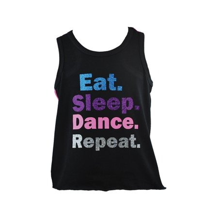 Dance Inspired Clothing (Reflectionz Little Girls Black Dance Inspired Print Cotton Tank)