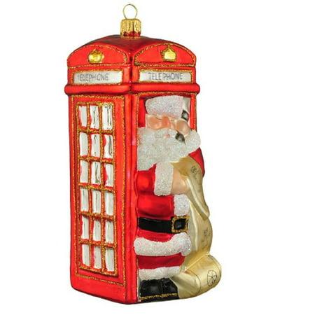 Phone Booth Santa Polish Glass Christmas Tree Ornament London England Travel