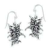 Moon Sprite - Detailed Sterling Silver Amy Brown Fairy Hook Earrings