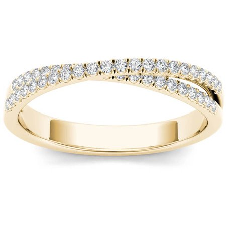 1/4 Carat T.W. Diamond Cross Over 10kt Yellow Gold Wedding Band