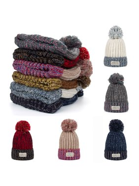 56ca4d53fbb Product Image Moderna Color Block Pompom Beanie Winter Accessory Women  Fashion Knitted Hat Ski Cap