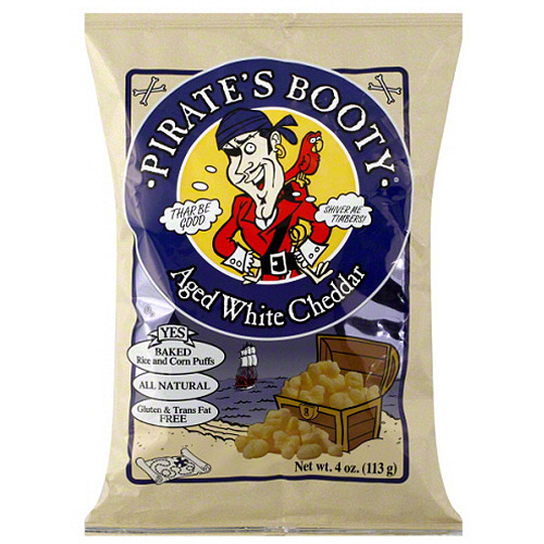 Pirate's Booty Aged White Cheddar Rice & Corn Puffs, 4 oz, (Pack of 12)