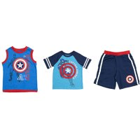 Marvel Toddlers 3pc Tank, T-Shirt, & Shorts Clothing Set, Captain America