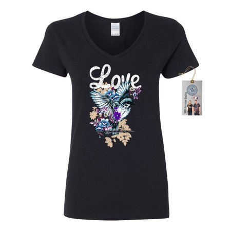 Love Life Floral Hummingbird Womens V-Neck Shirt Top - Pink Ladies And T Birds Jackets