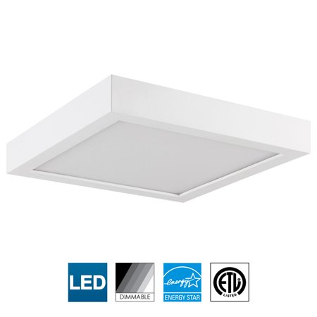 Sunlite LED 9-Inch Square Surface Mount Ceiling Light Fixture, 19 Watts, Dimmable, 3000K Warm White, Energy Star Certified