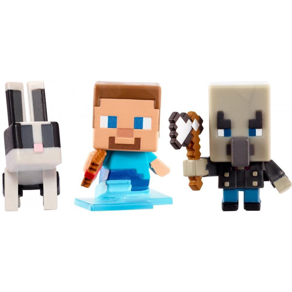 Minecraft Build-A-Mini 3-Pack Pack Steve W Frostwalker Boots, Vindicator, Toast by Mattel