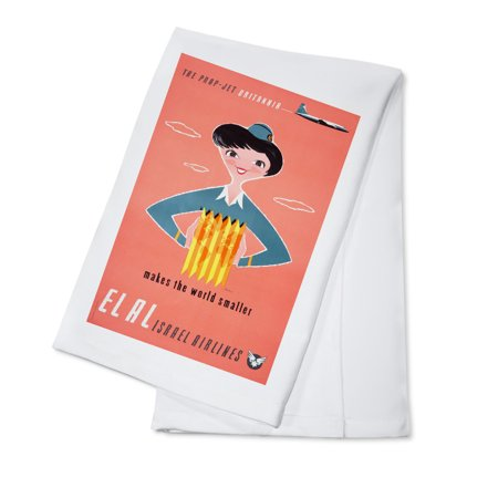 El Al Israel Airlines - (artist: Kor c. 1957) - Vintage Advertisement (100% Cotton Kitchen Towel)