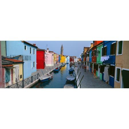 Houses Along A Canal Burano Venice Veneto Italy Poster Print