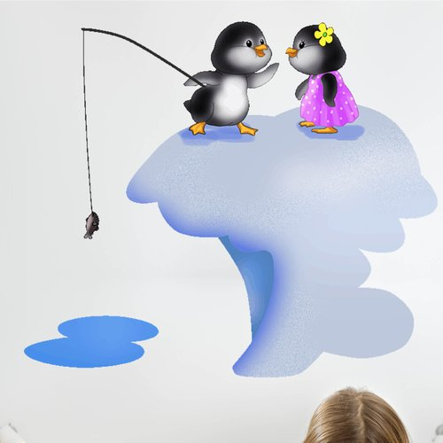Wallhogs Penguins Fishing Wall Decal