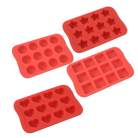 Coolmade Silicone Baking Mold, Chocolate Molds&Candy Molds Set, Tray 4-in-1 Silicone Molds Set for Cupcakes,Muffins,Soap and Brownies-Red - Halloween Chocolate Tray Bake