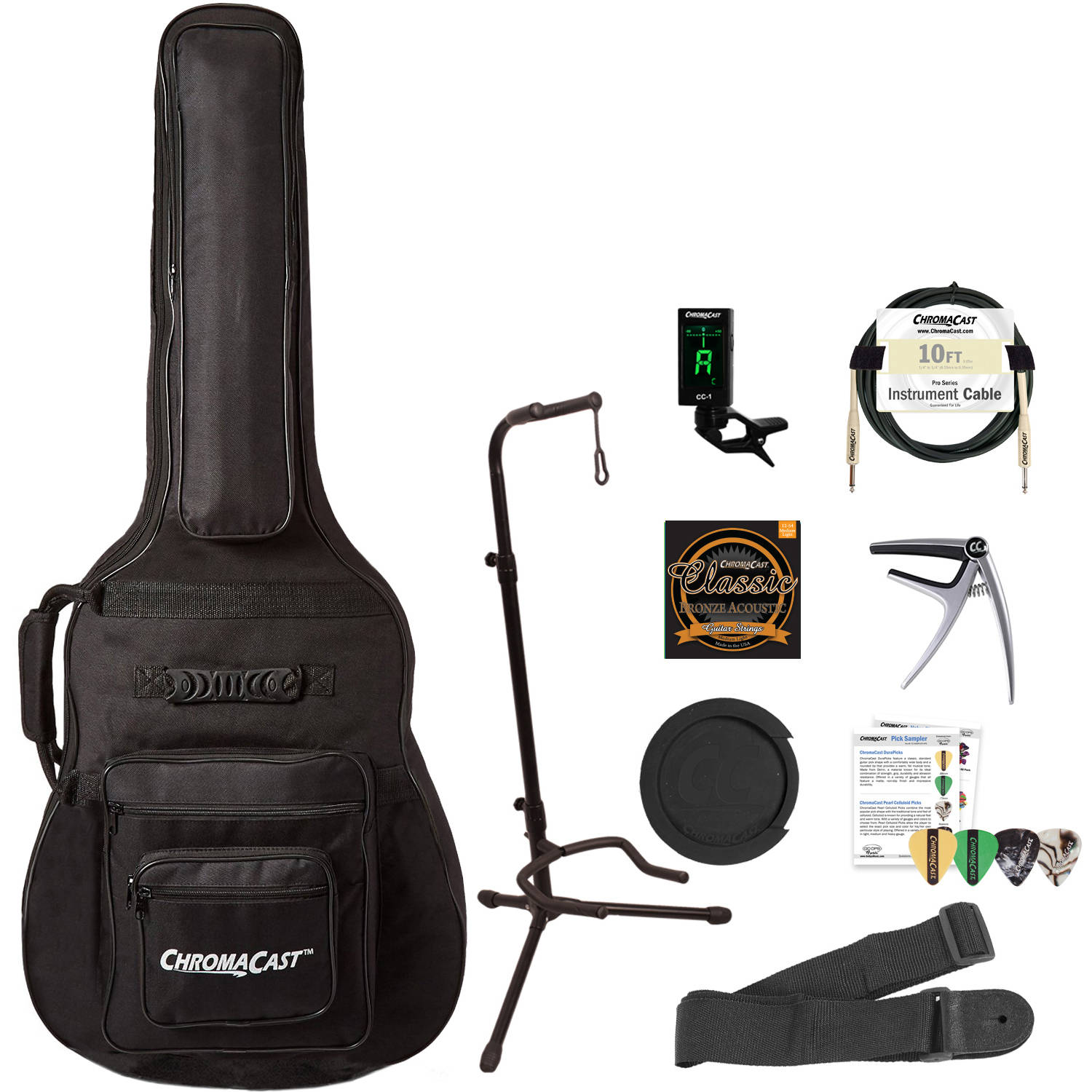ChromaCast Acoustic Electric Guitar Performer's Pack with Padded Guitar Case, Stand, Tuner, Cable, Strap, Capo, Sound Hole Mute, Strings & Picks