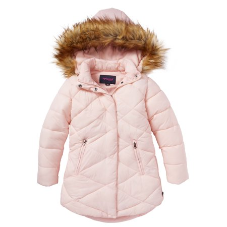 Girls Quilted Fleece Lined Winter Puffer Jacket Coat Faux Fur Trim Zip-Off Hood- Blush (14/16)](lipsy faux fur puffer jacket)
