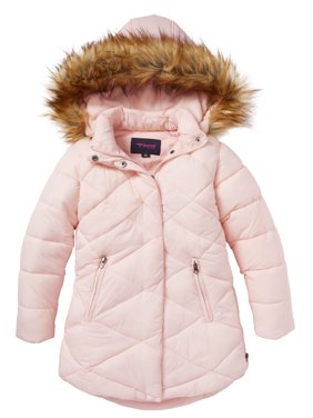 Girls Quilted Fleece Lined Winter Puffer Jacket Coat Faux Fur Trim Zip-Off Hood- Blush (14/16)
