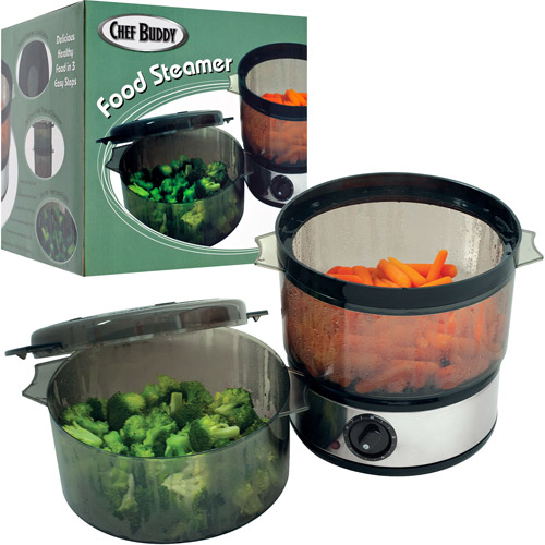 Chef Buddy Food Steamer with Timer and 2 Containers