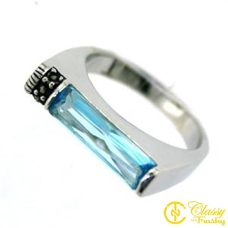 Classy Not Trashy® Size 8 Synthetic Aquamarine Rectangle Jewel Women