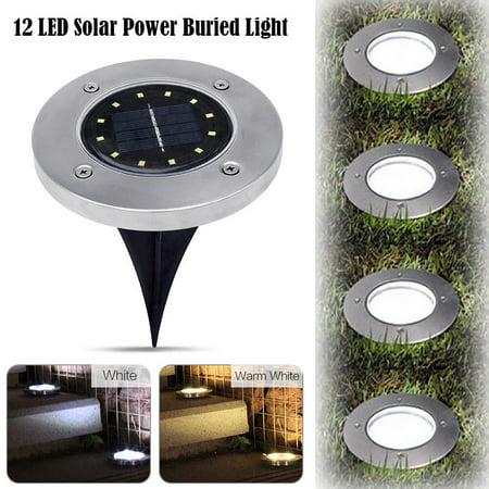 Landscape Path Light - Solar Powered Ground Lights ,1Pack 12LED Waterproof LED Solar Path Lights Outdoor Spot Lamp Yard Garden Lawn Landscape Decking